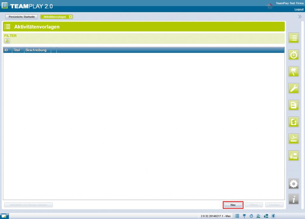 Screenshot Aktivitätsvorlage neu erstellen