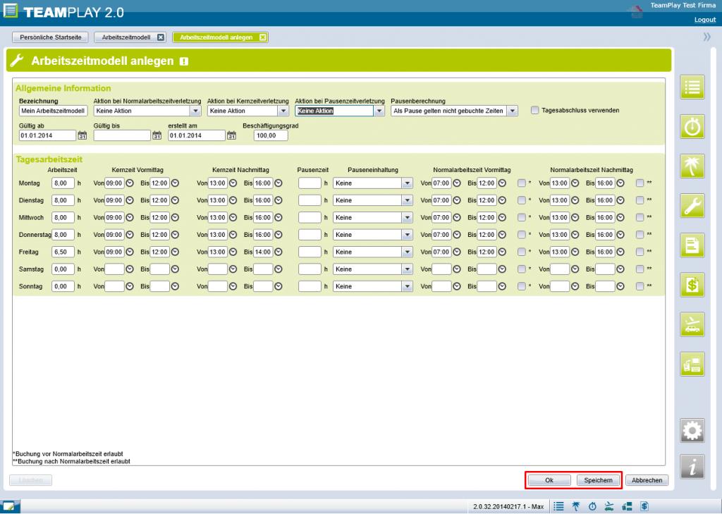 Screenshot Arbeitszeitmodell speichern