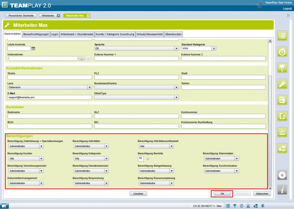 Screenshot Berechtigungen MA ändern