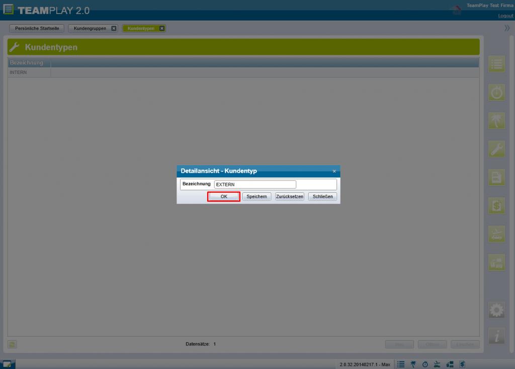 Screenshot Kundentyp speichern
