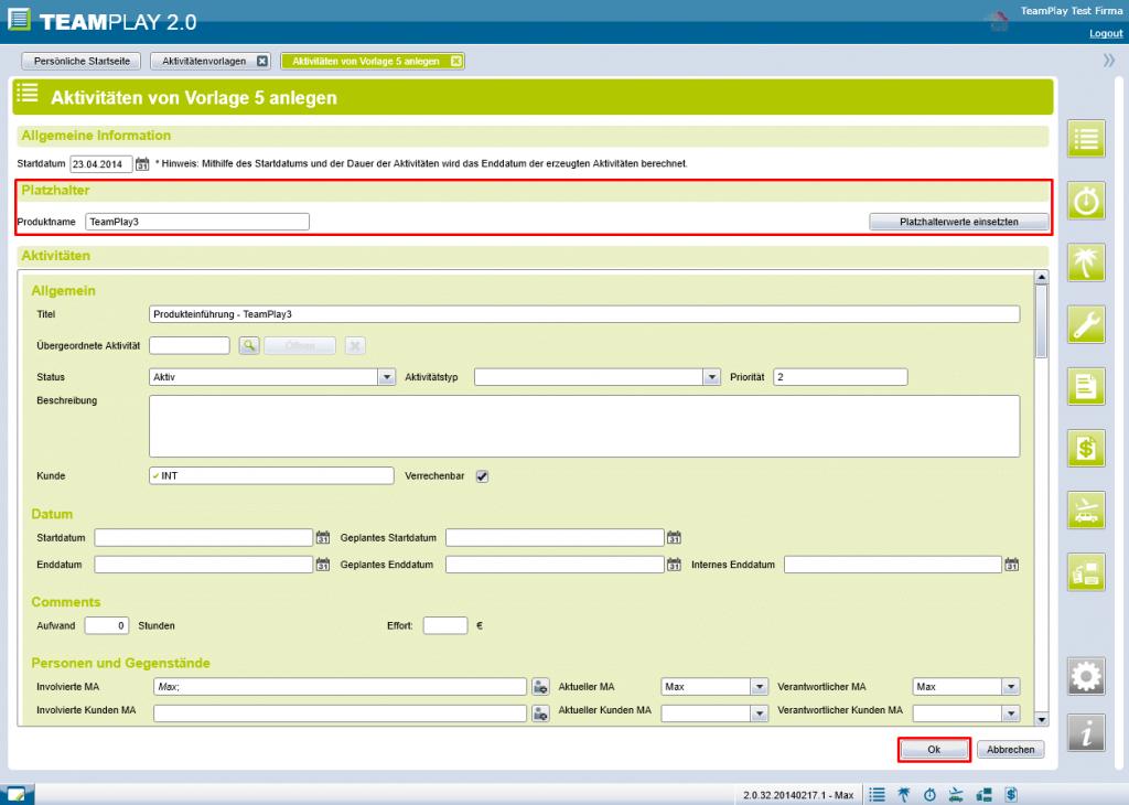 Screenshot Vorlageaktivitäten erstellen