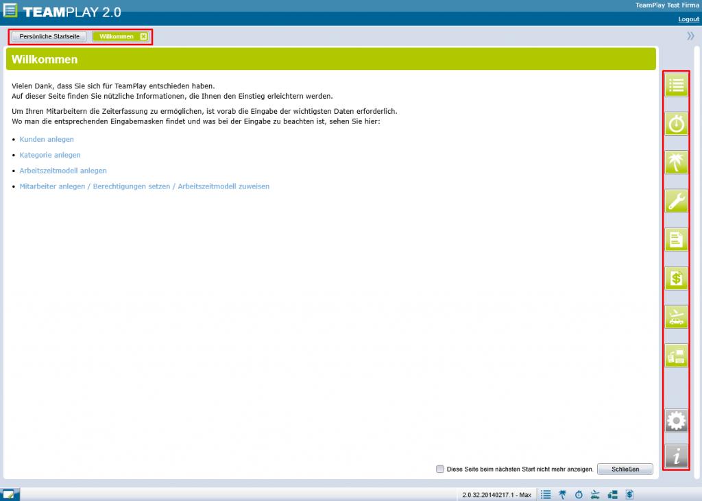 Screenshot Wilkommen