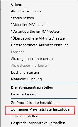 2.0.46 Aktivitaet in die eigene Prioritaetsliste hinzufuegen