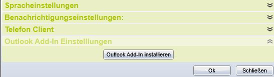 Einstellungen Outlookplugin installation